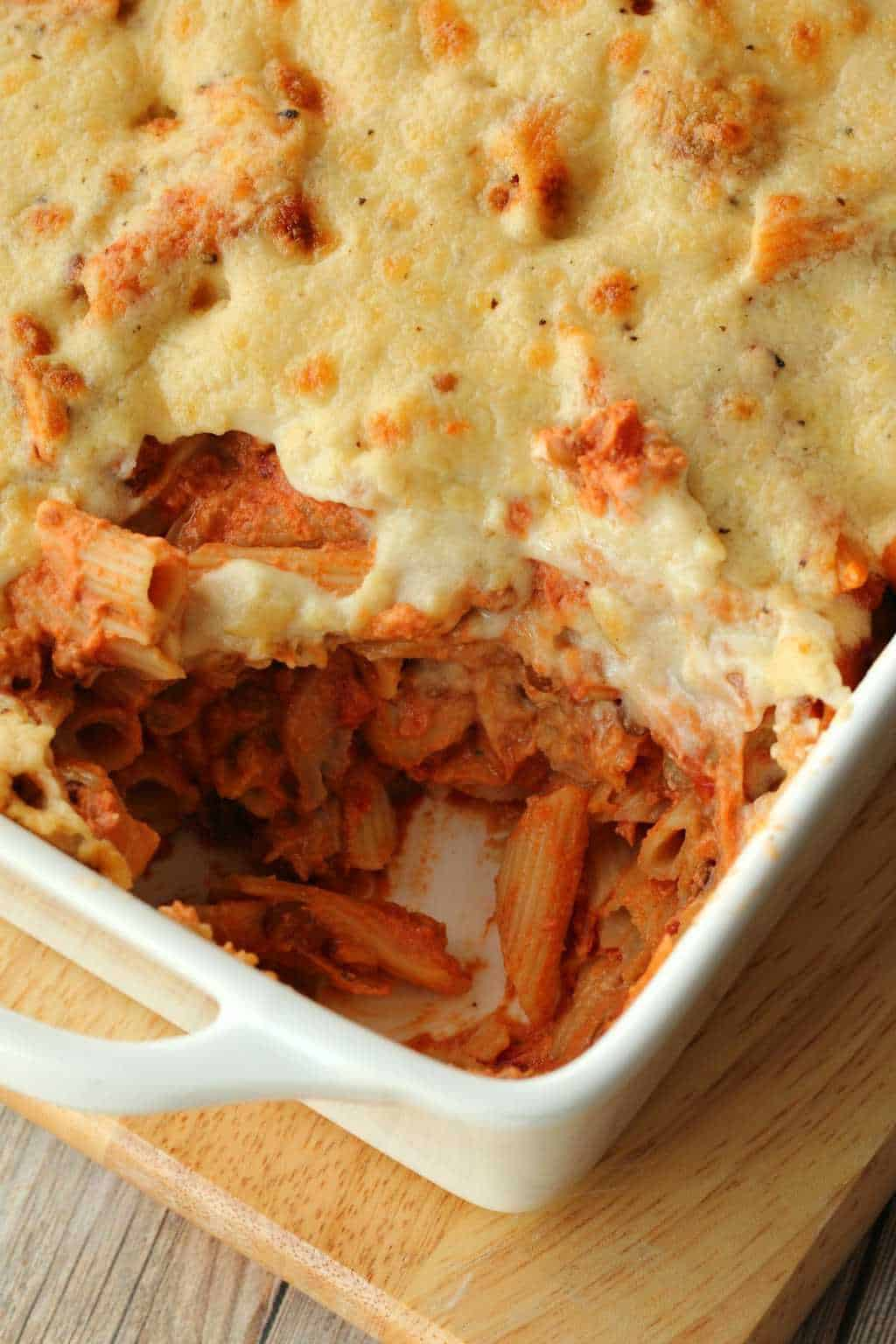 Vegan Pasta Bake in a white oven dish.