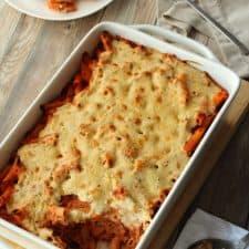 Vegan pasta bake in a white baking dish.