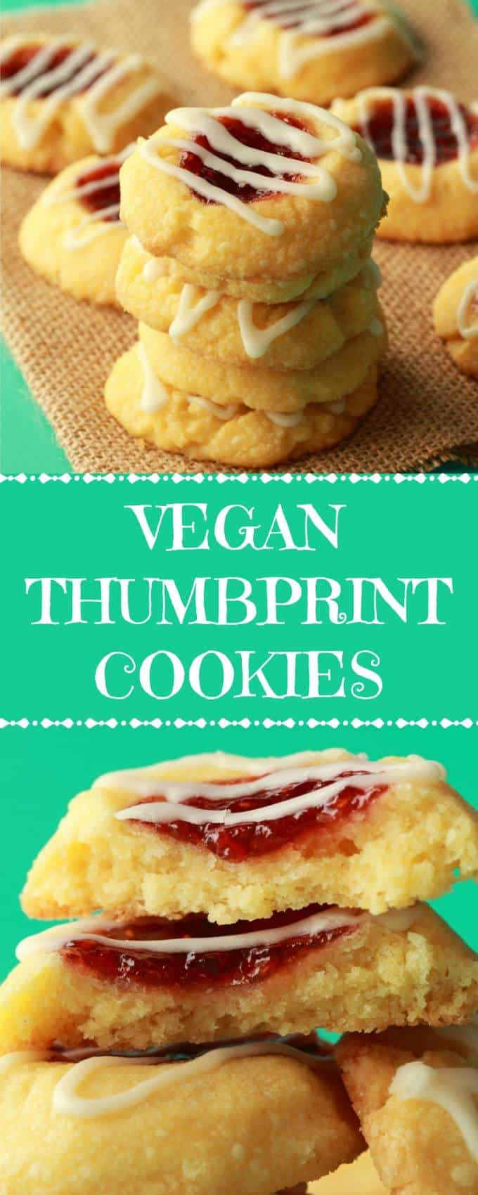 Soft and buttery vegan thumbprint cookies with a raspberry jam center and almond glaze. These perfectly sweet melt-in-your-mouth shortbread cookie delights are so easy and fun to make and simply gorgeous! | lovingitvegan.com