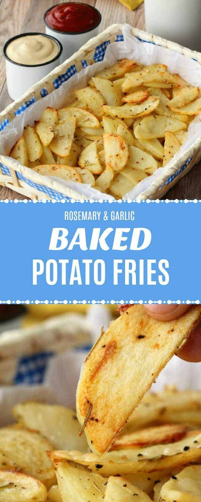 Spicy garlicky baked potato fries! These easy and delicious fries are fabulous served with ketchup or cashew sour cream and a wonderful alternative to regular fries!| lovingitvegan.com