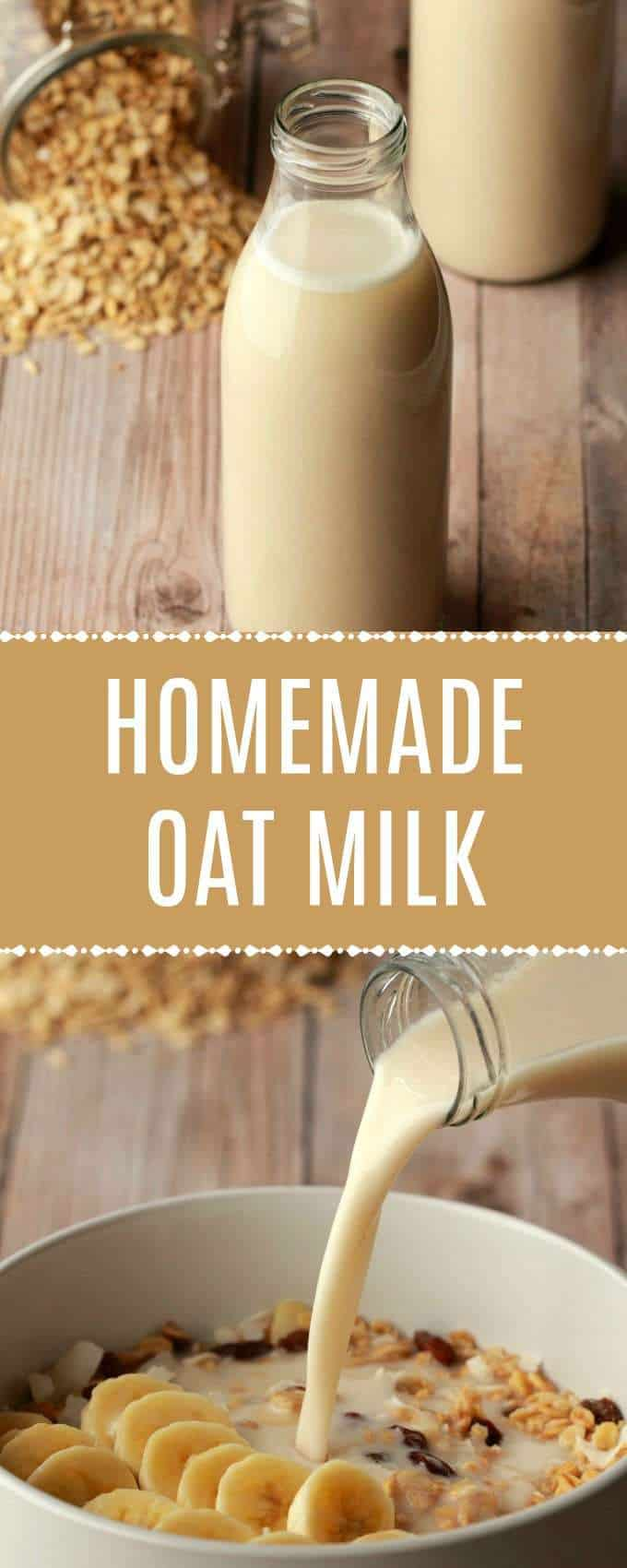 Creamy and delicious oat milk! This homemade oat milk recipe is 5 easy ingredients, ready in minutes, and delicious in tea or coffee or poured over cereal. | lovingitvegan.com