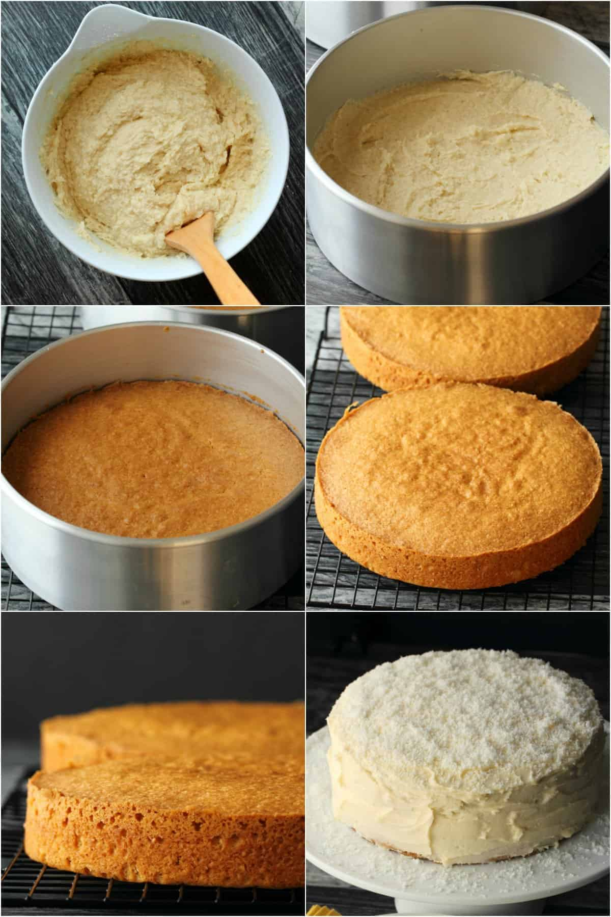 Step by step process photo collage of making a vegan coconut cake.