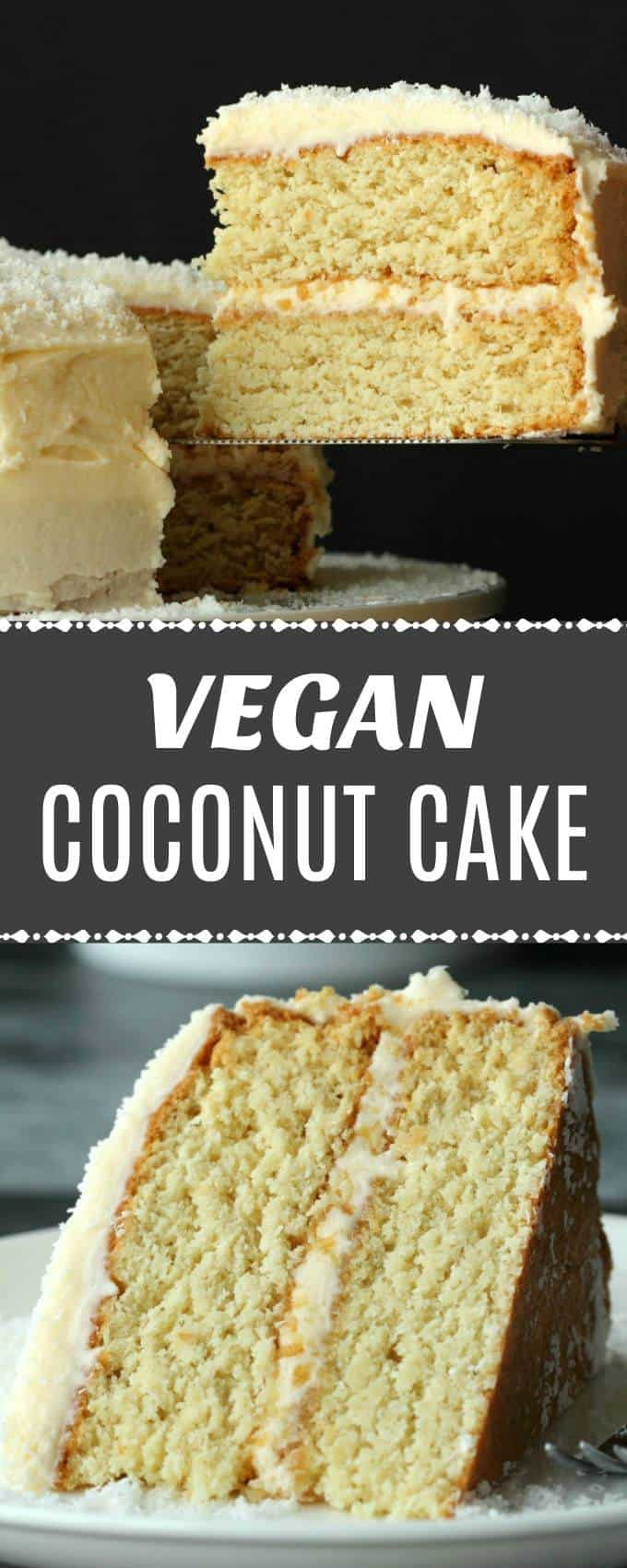 Fabulously coconutty two layered vegan coconut cake topped with a decadent coconut rum frosting. Super easy, moist, fluffy and dense at the same time (I know!) this delicious vegan cake is a total delight to the tastebuds!| lovingitvegan.com
