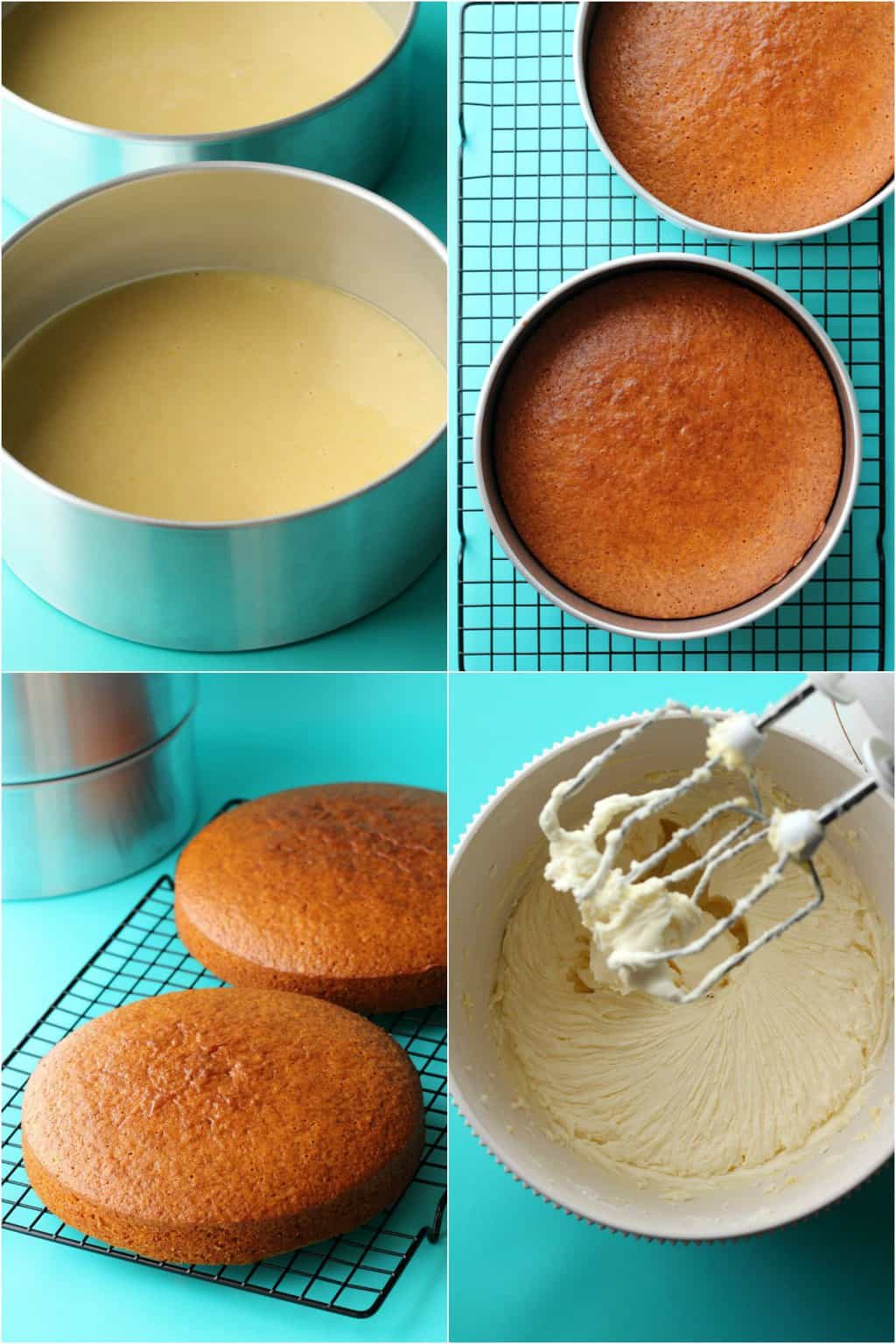 Step by step process photo collage of making a vegan lemon cake.