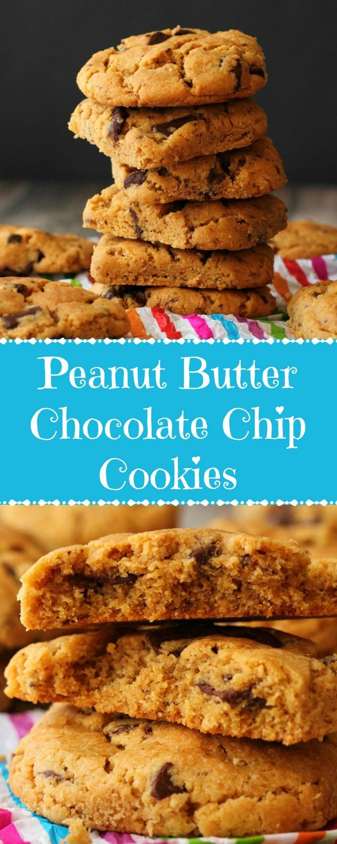Thick and delicious vegan peanut butter chocolate chip cookies! These rich and decadent vegan cookies are crispy on the edges, soft in the centers and loaded with peanut butter flavor and chocolate chunks. | lovingitvegan.com