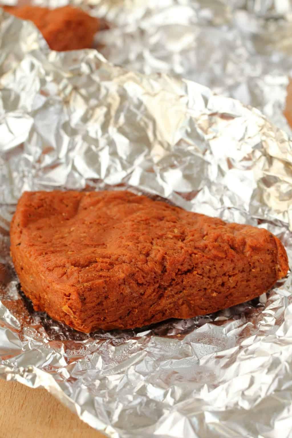 Vegan Steak in tinfoil.