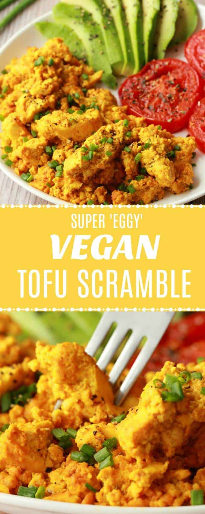 High protein and super eggy vegan tofu scramble! This hearty and satisfying vegan breakfast is super close to scrambled eggs in taste without actually being scrambled eggs, which is super cool! Perfect for vegans who miss eggs and those who just want a hearty healthy breakfast. | lovingitvegan.com