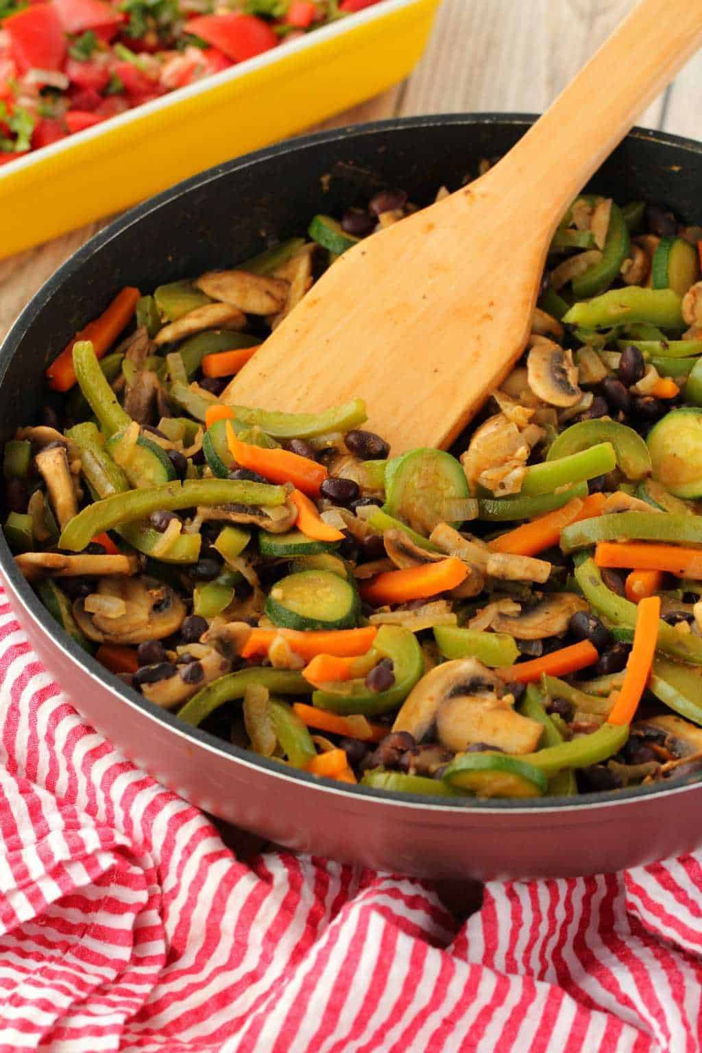 A pan of sautéed veggies for veggie fajitas.