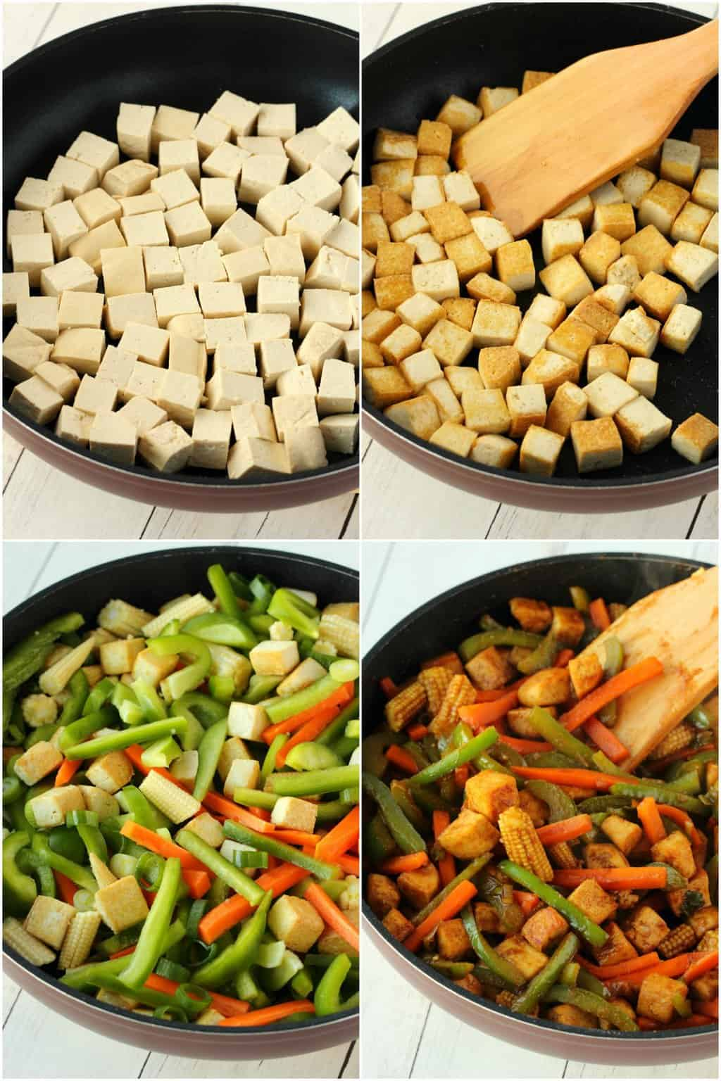 Step by step process photo collage of making a tofu stir fry.