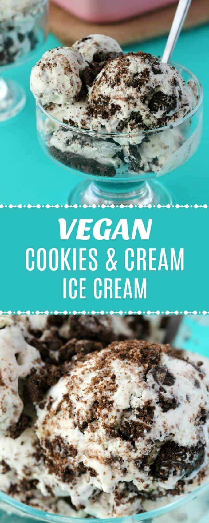 Smooth and creamy vegan cookies and cream ice cream. This no-churn vegan ice cream is only 3-ingredients and super easy to make, with fabulous results. | lovingitvegan.com