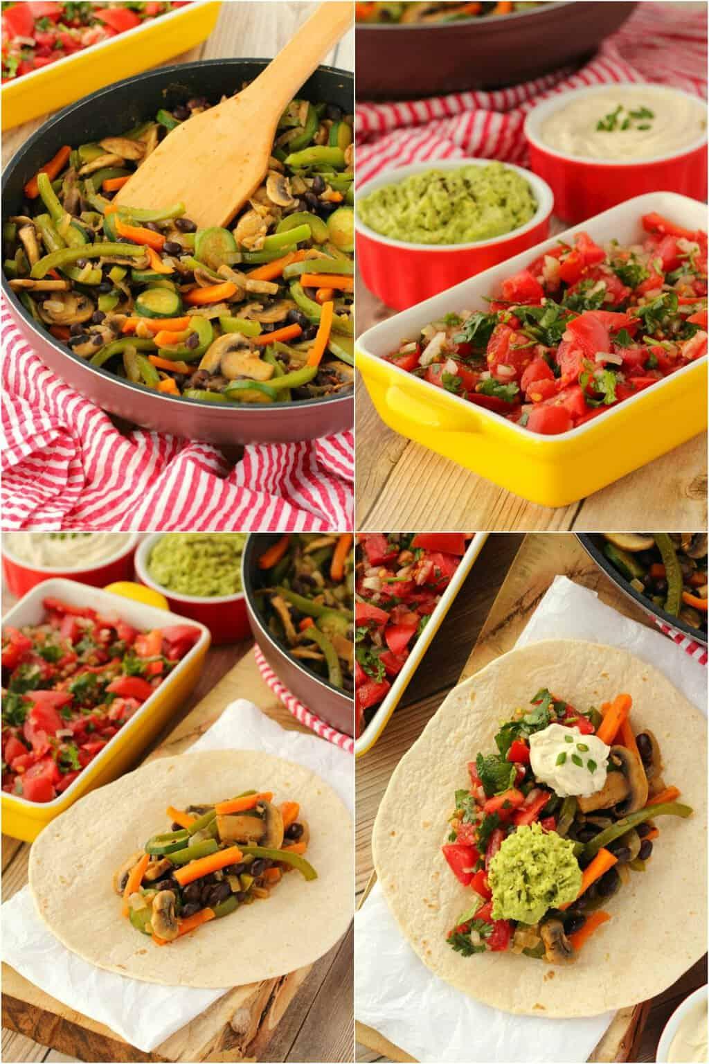 Step by step process photo collage of making vegan fajitas.