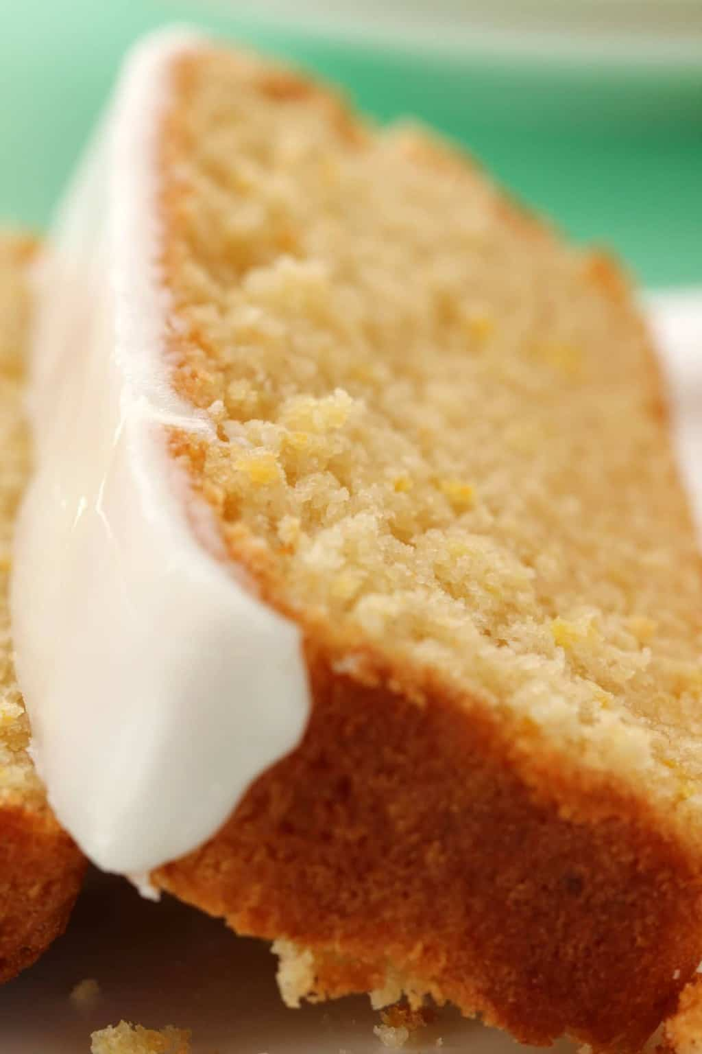 Vegan Lemon Pound Cake slices on a white plate.