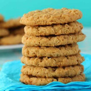 Stack of vegan peanut butter oatmeal cookies.