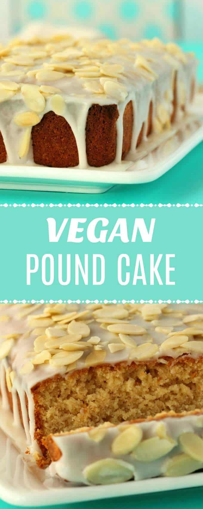 Vegan pound cake with an almond glaze. Moist, rich and dense (but not heavy) this pound cake is super simple and absolutely delicious. | lovingitvegan.com