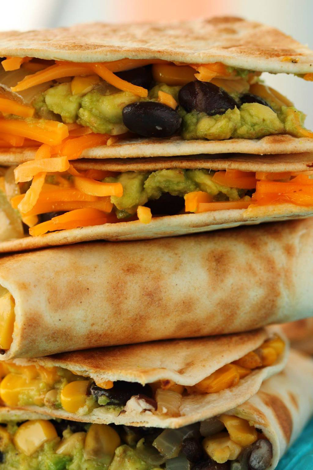 Vegan Quesadillas in a stack.
