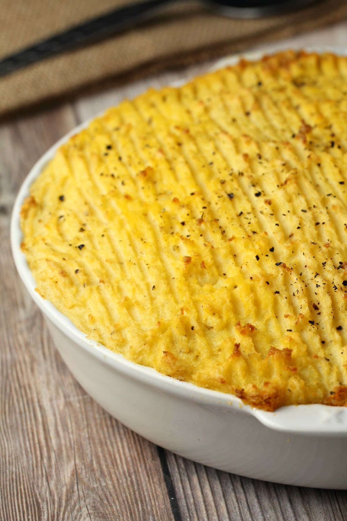 Vegan Shepherd's Pie in a white pie dish.