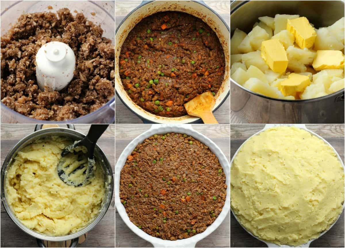 Step by step photos of making a vegan shepherd's pie.