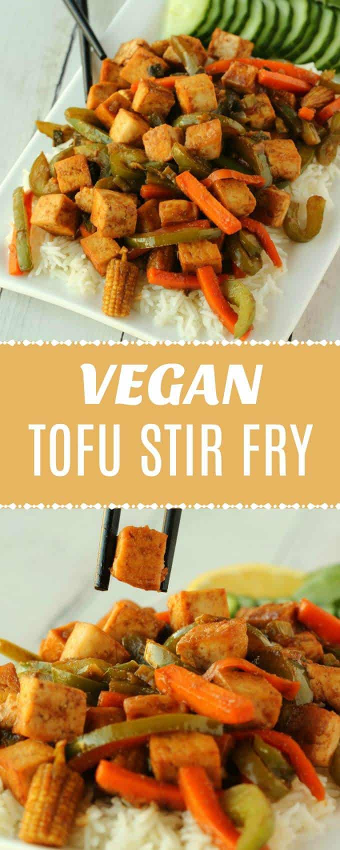 Quick and easy veggie-packed vegan tofu stir fry. This flavorful and satisfying meal is high in protein and perfect for a weeknight plant based dinner served with basmati rice or cauliflower rice. Gluten-Free. | lovingitvegan.com