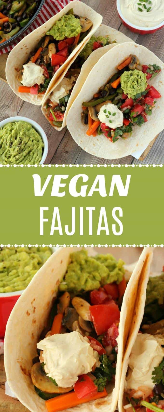 Easy and delicious veggie fajitas! Sautéed veggies plus salsa, guacamole and vegan sour cream in a tortilla is always going to be a winner! These vegan fajitas are filling, satisfying and make a fabulous plant-based dinner. | lovingitvegan.com