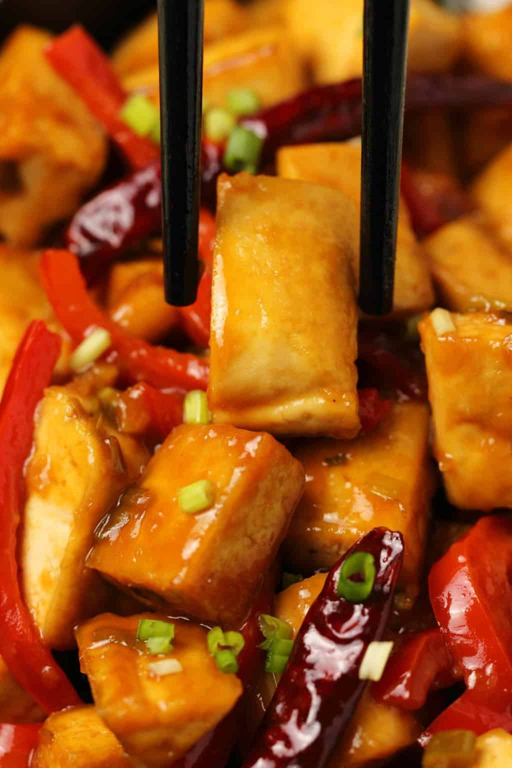 Kung pao tofu and chopsticks.