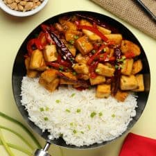 Kung pao tofu with rice in a skillet