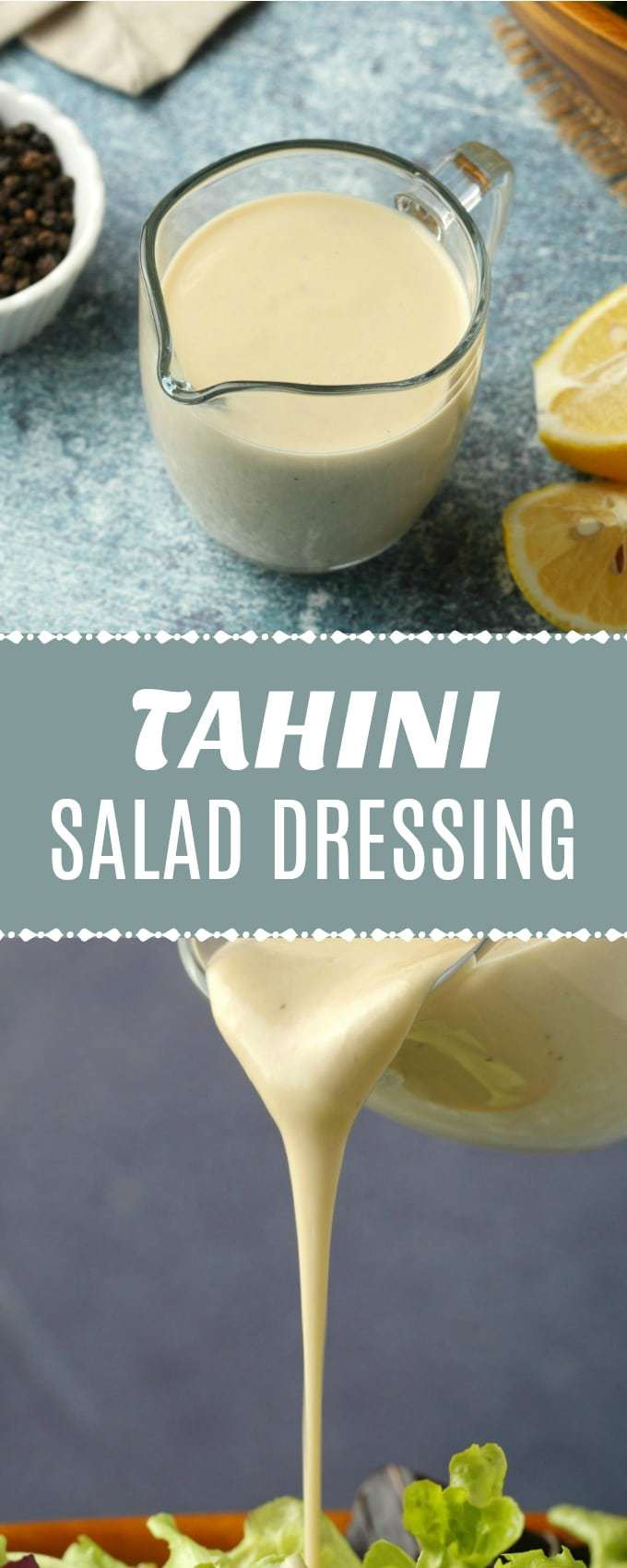 Super simple and versatile tahini salad dressing. Creamy, smooth, tangy and fresh, this vegan salad dressing can turn any simple salad into a gourmet event! | lovingitvegan.com