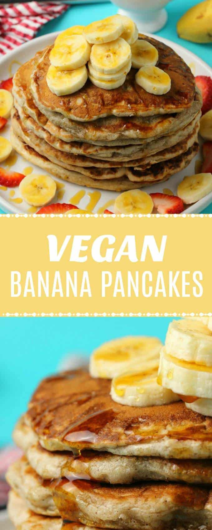 Easy vegan banana pancakes! Perfect for a delicious vegan breakfast topped with sliced bananas and syrup. Light, fluffy and perfect. | lovingitvegan.com