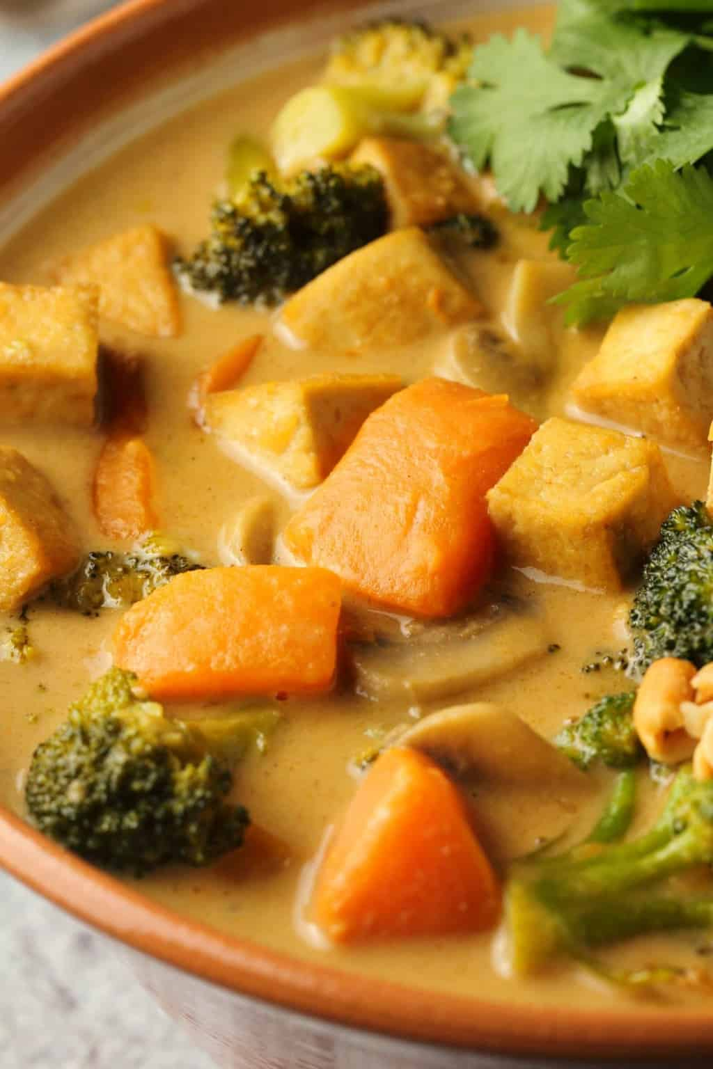 Vegan massaman curry in a bowl.