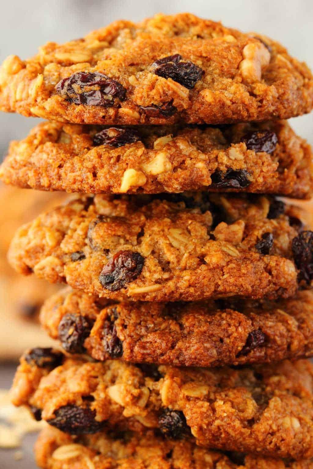 Vegan oatmeal raisin cookies in a stack.
