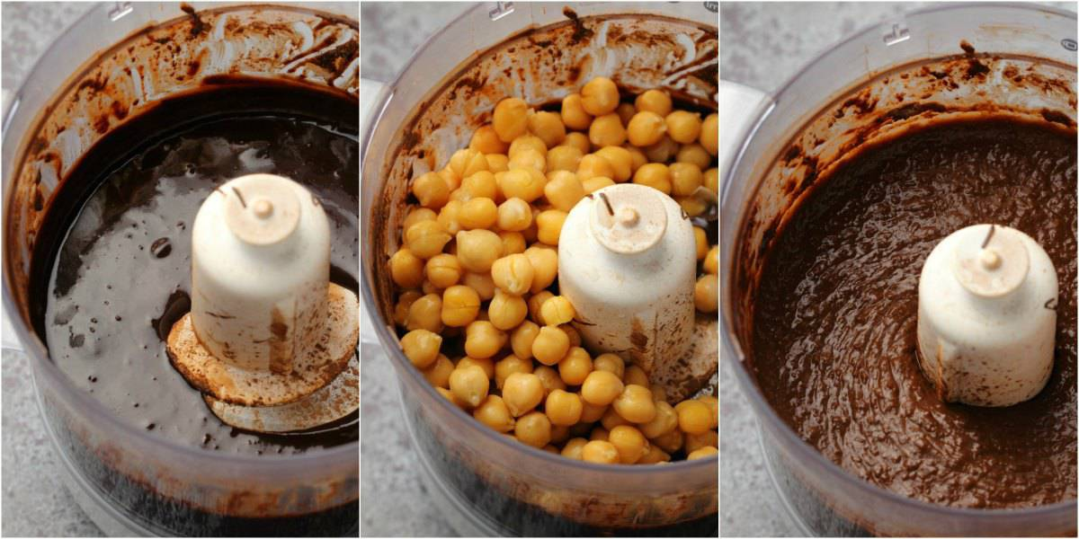 Step by step process photos to making chocolate dessert hummus.