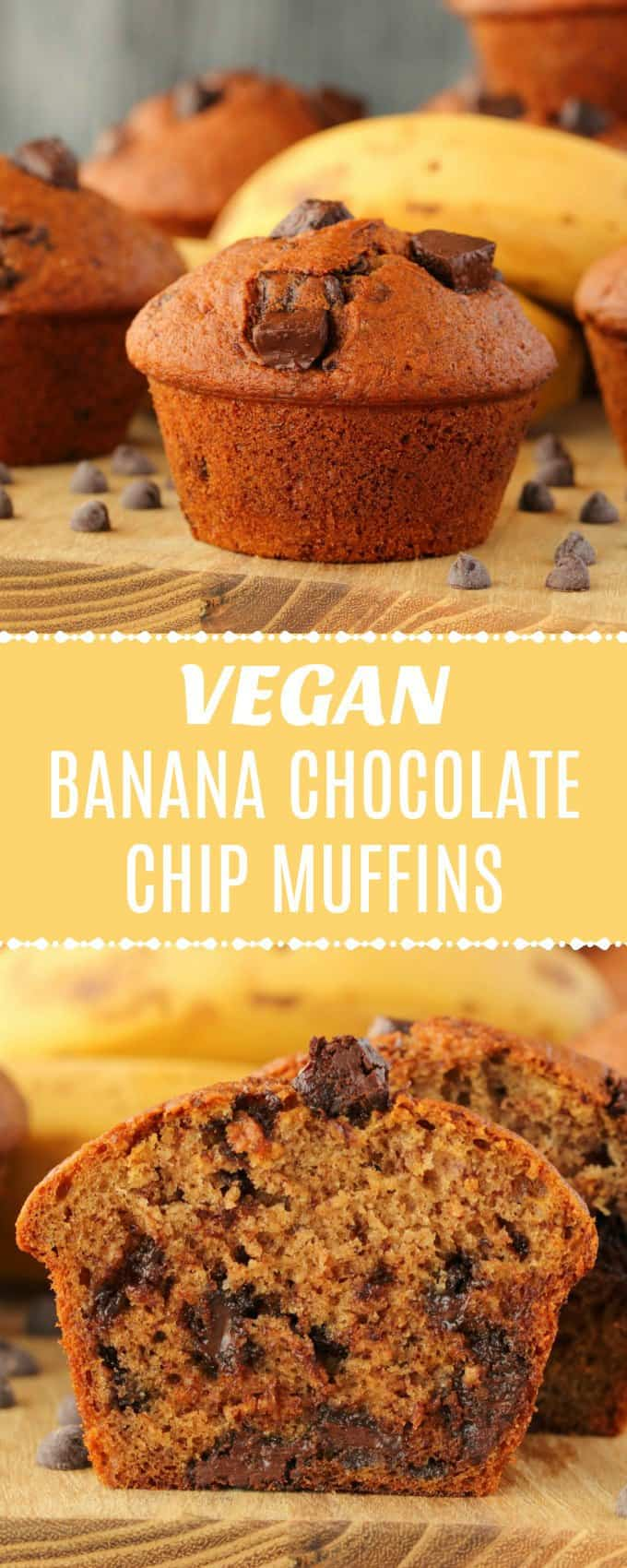 Rich and flavorful vegan banana chocolate chip muffins. These moist and delicious vegan muffins are packed with chocolate chunks and wonderfully satisfying! | lovingitvegan.com