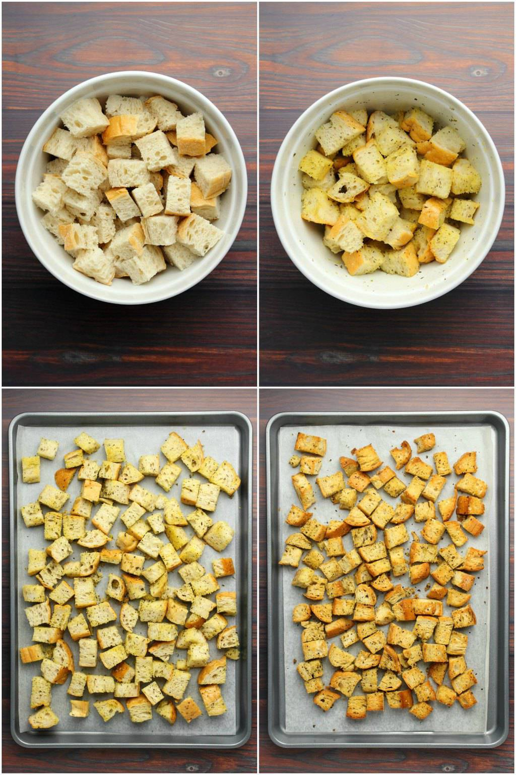 Step by step process photos to making croutons for a vegan caesar salad.