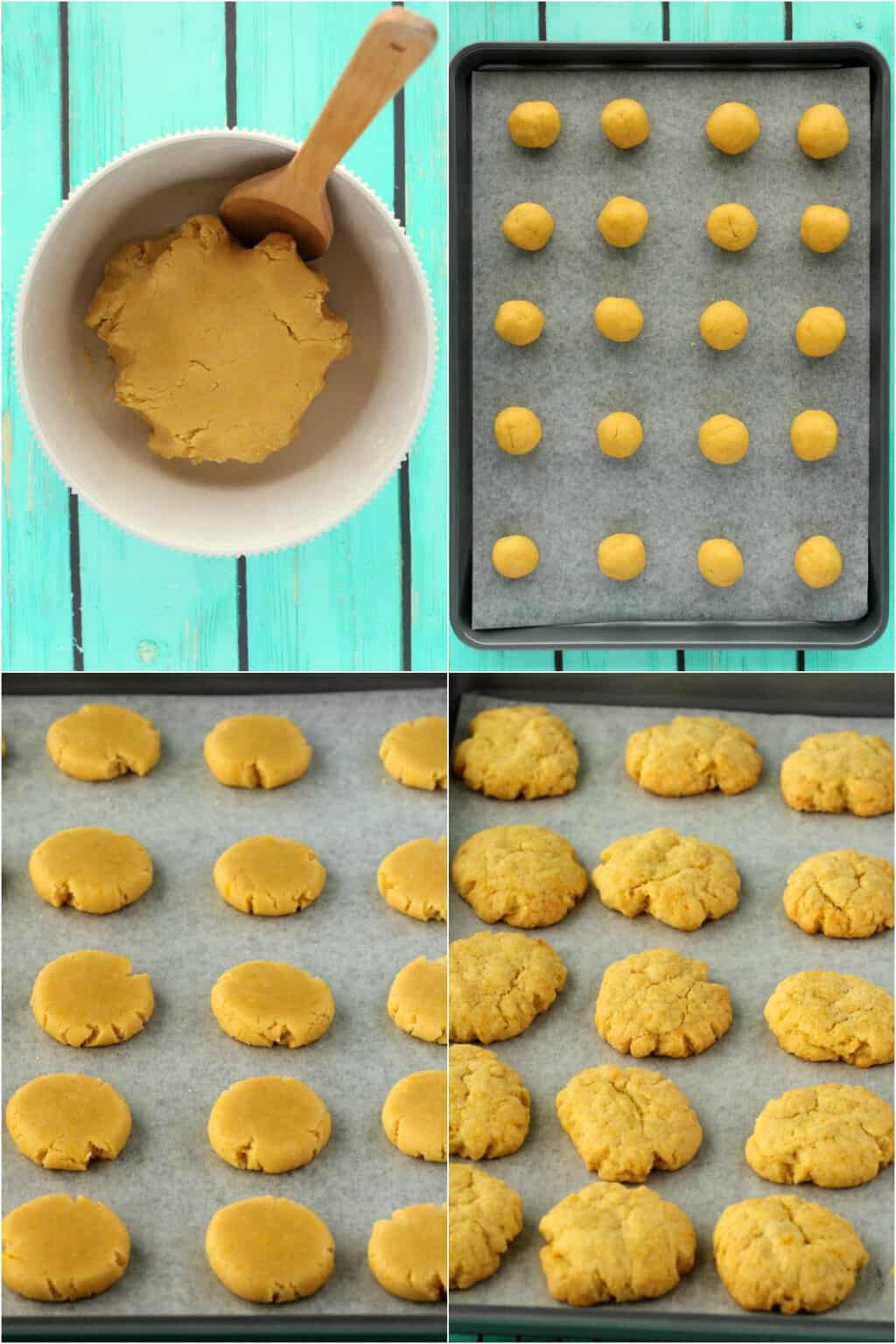Step by step process photo collage for how to make vegan lemon cookies.