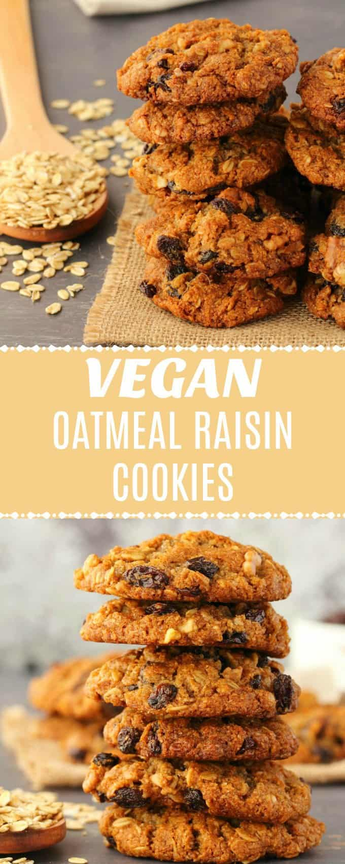 Vegan oatmeal raisin cookies that are crisp on the outside, soft and chewy on the inside, super moist and rich in flavor with a hint of molasses. Super easy recipe.   lovingitvegan.com