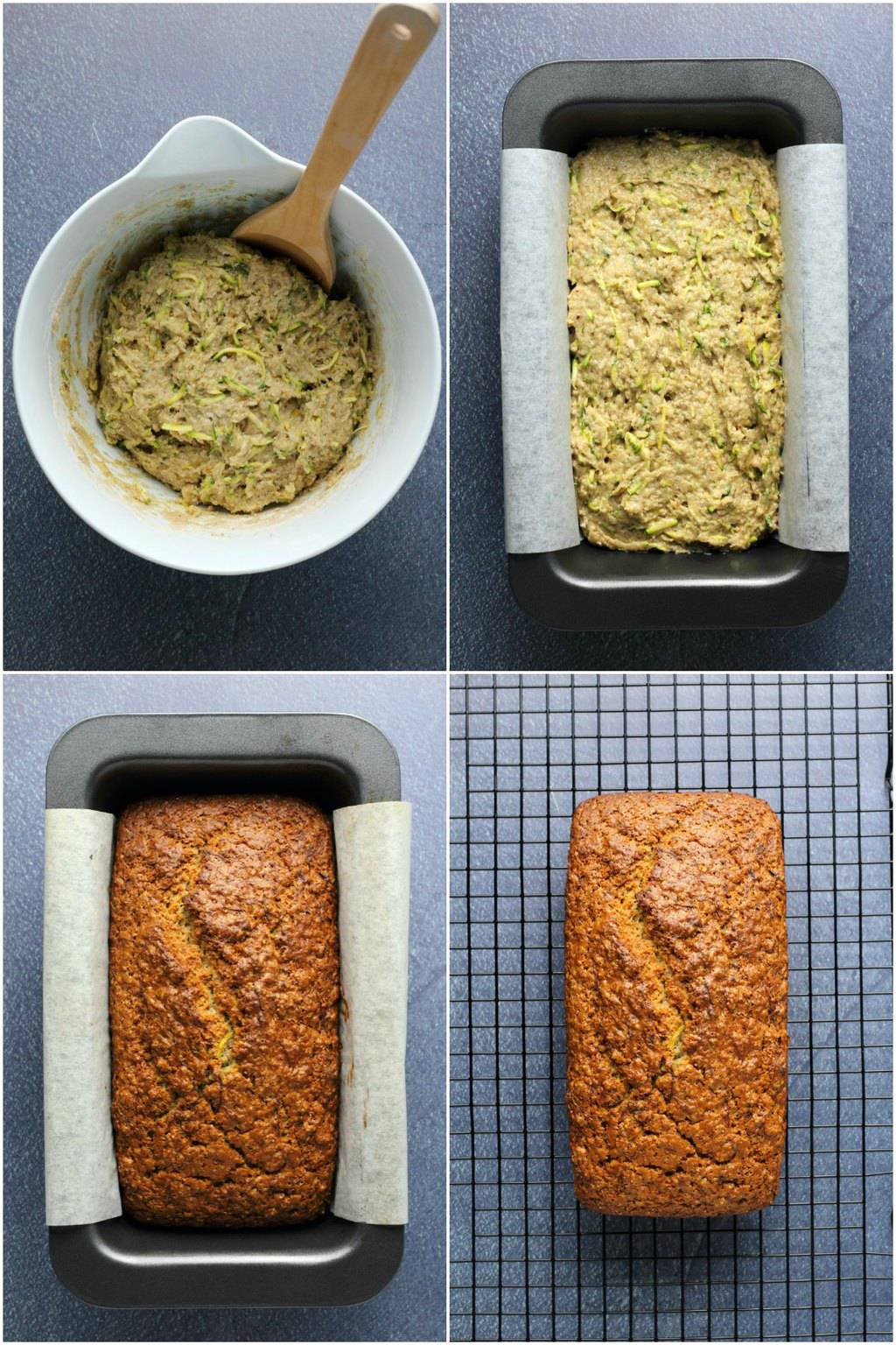 Step by step process photos of making vegan zucchini bread