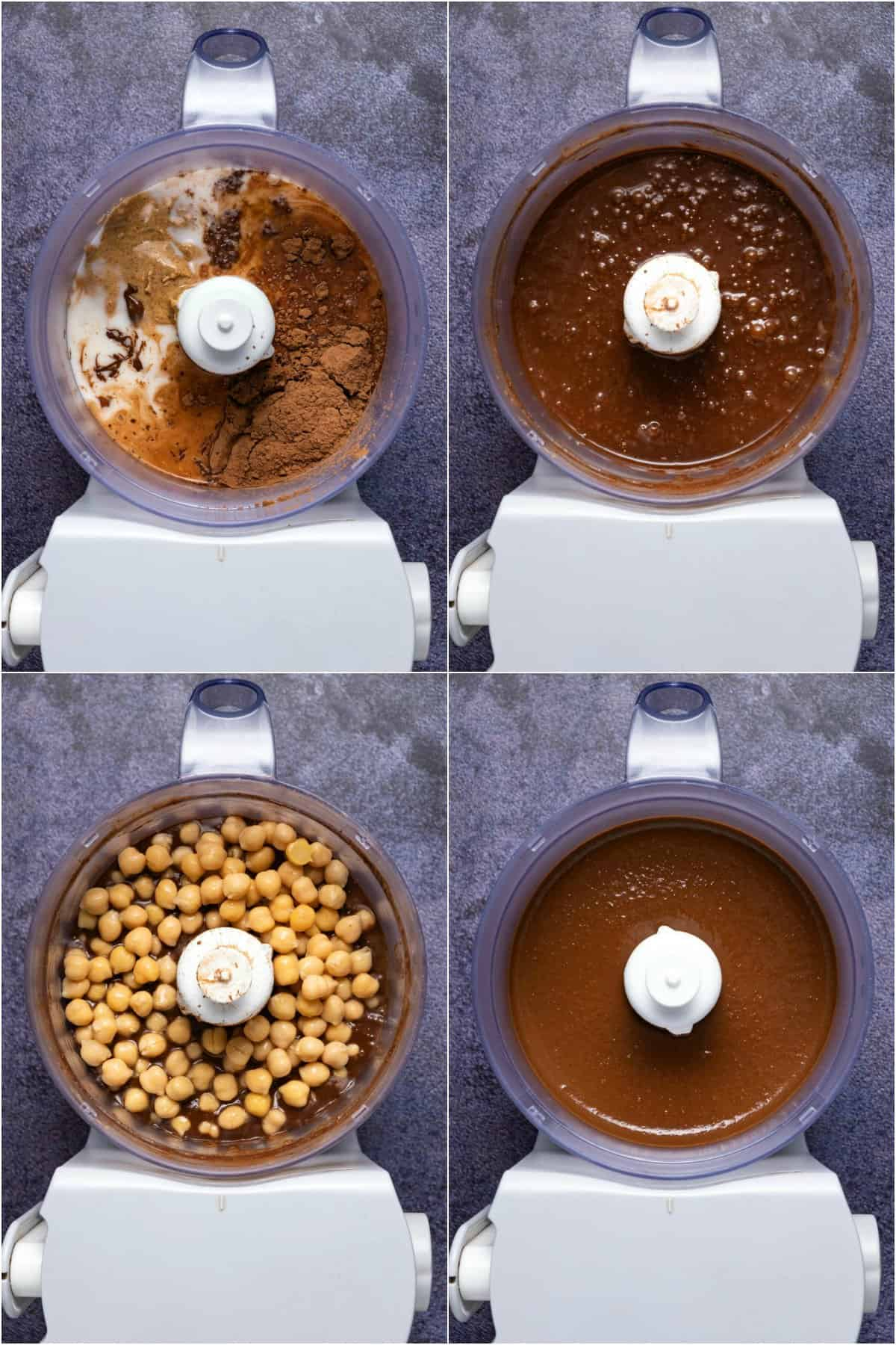 Step by step process photo collage of making chocolate hummus.