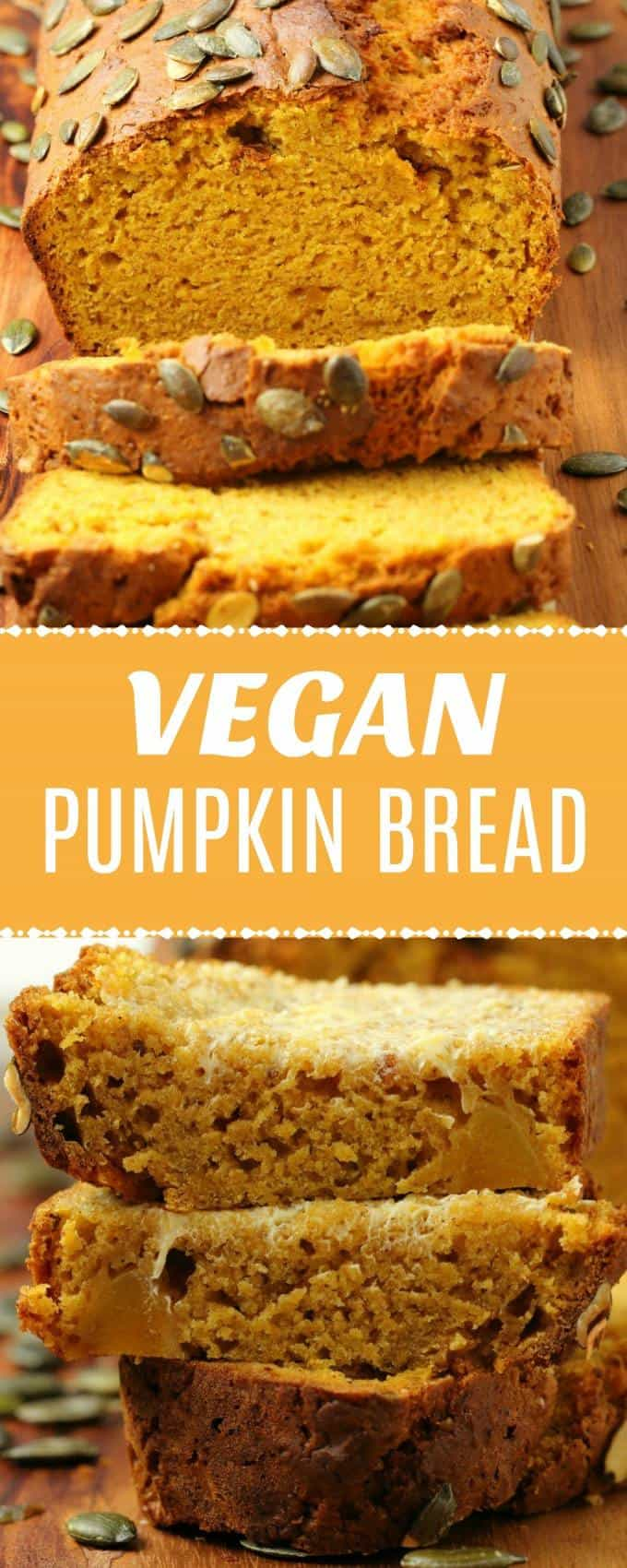 Moist and deliciously spiced vegan pumpkin bread topped with pumpkin seeds and packed with fall flavors! Perfectly sweet and wonderfully simple. | lovingitvegan.com