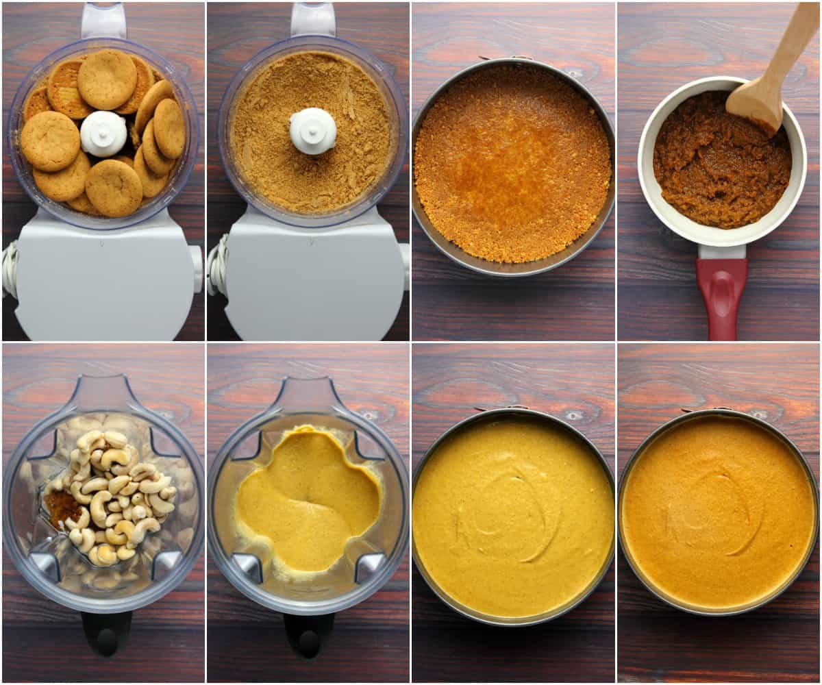 Step by step process photo collage of making a vegan pumpkin cheesecake.