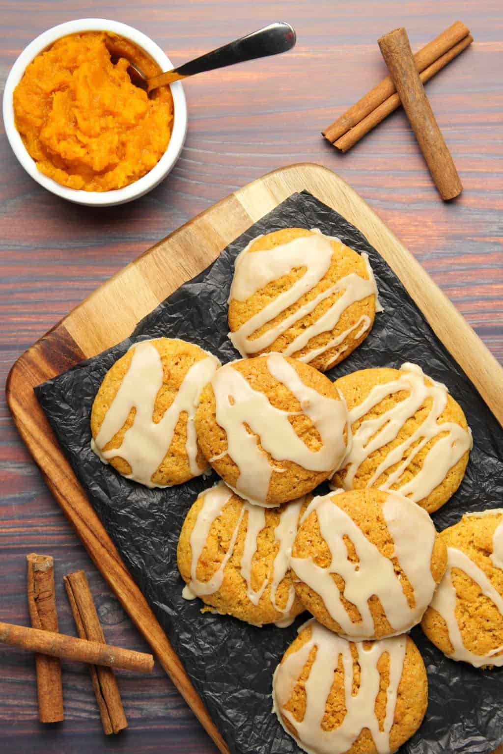 Vegan Pumpkin Cookies with Maple Glaze