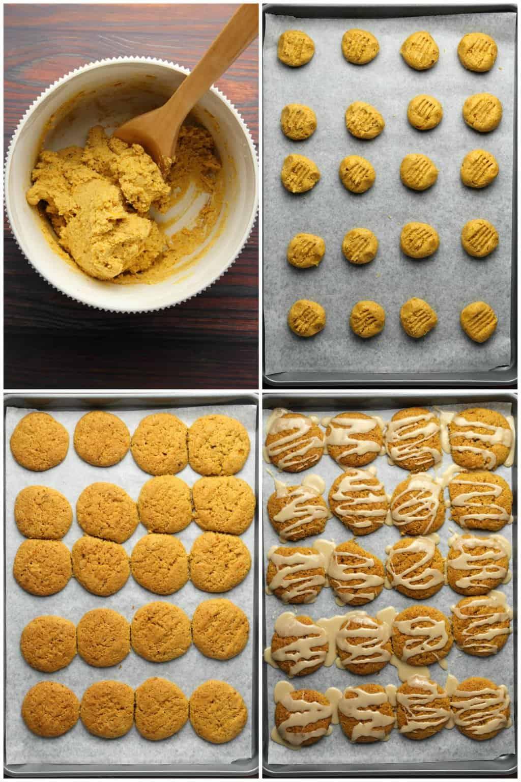 Process photo collage of making vegan pumpkin cookies.