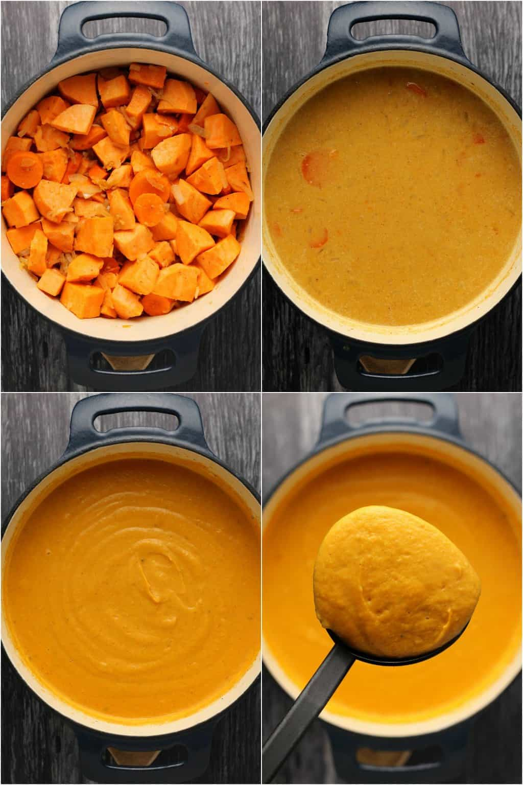 Step by step process photo collage of making vegan sweet potato soup.