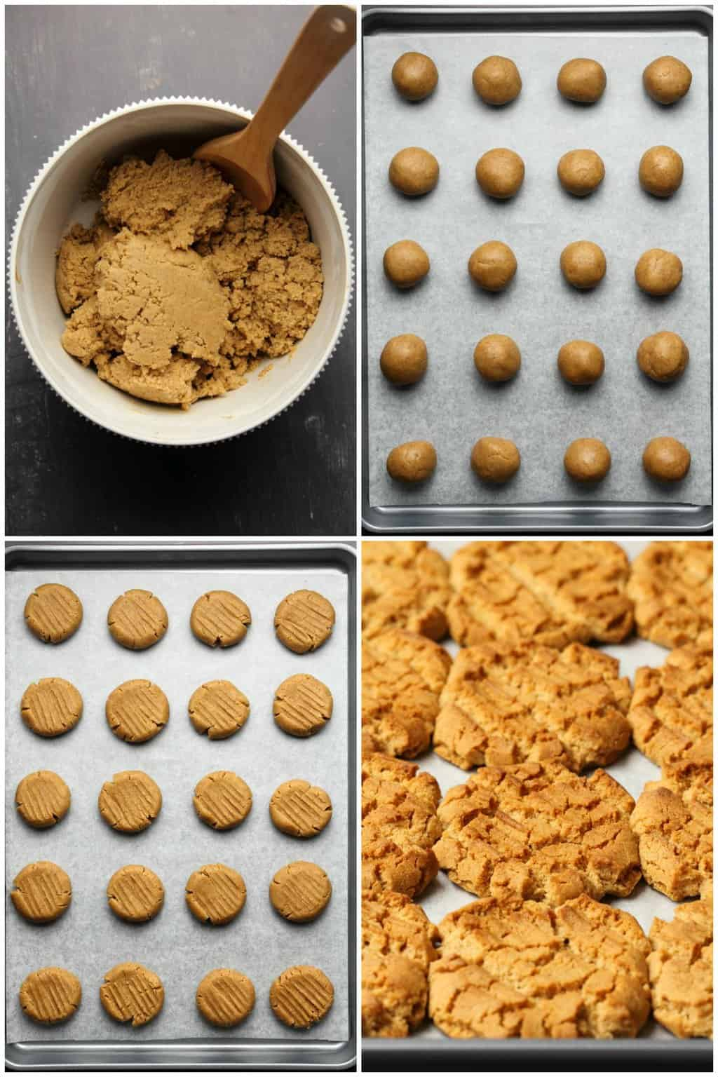 Step by step process photos of making vegan almond butter cookies.
