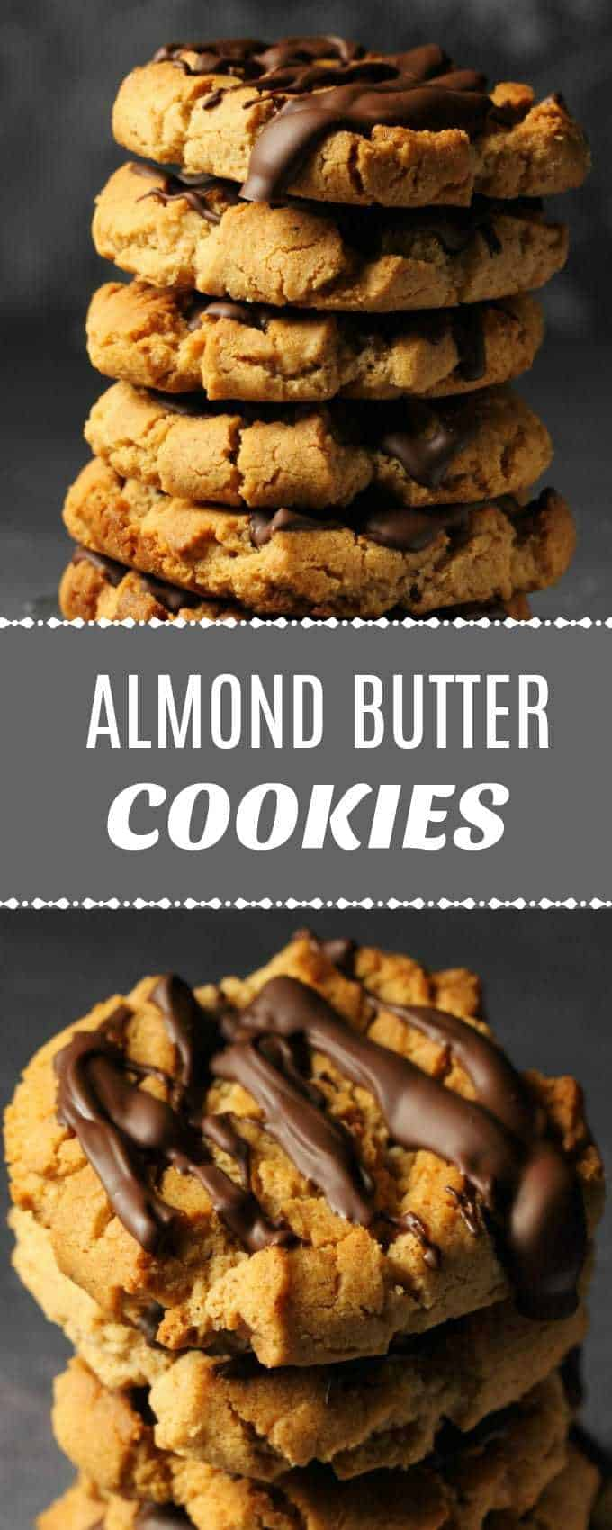 Crunchy vegan almond butter cookies drizzled with vegan chocolate. Perfect blend of flavors in this super easy recipe. Insanely delicious! | lovingitvegan.com