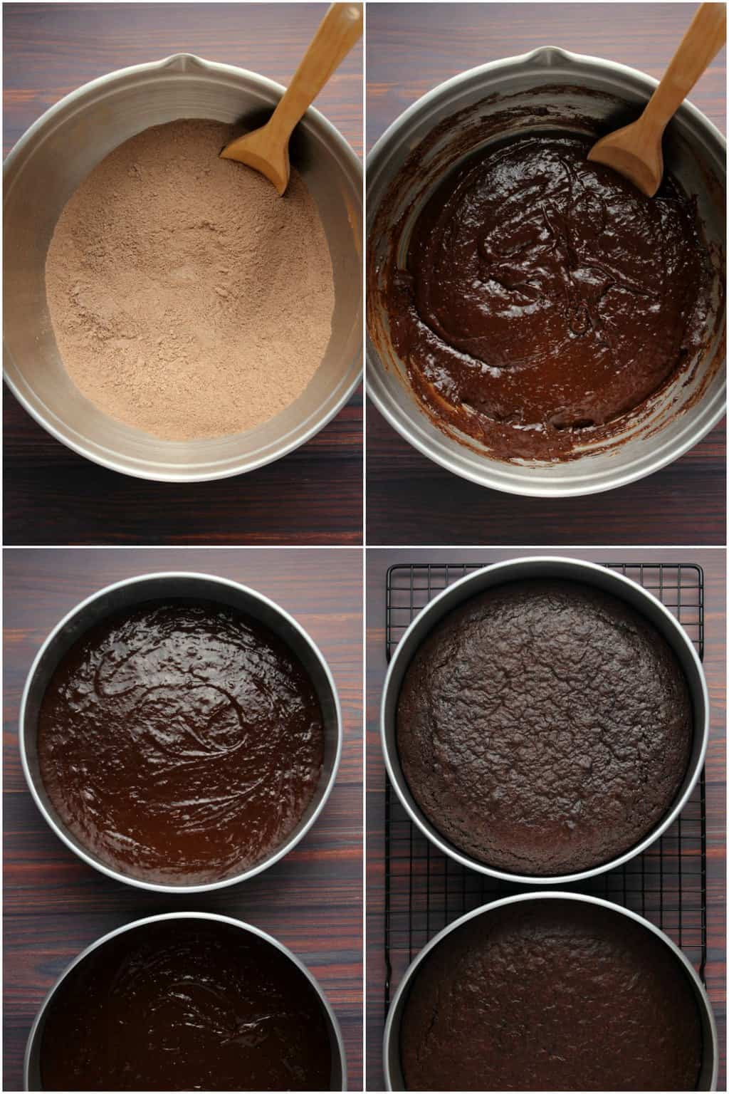 Step by step process photo collage of making vegan chocolate fudge cake.
