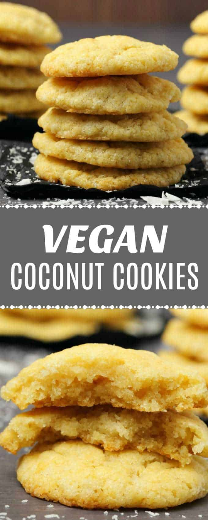Soft, moist and buttery vegan coconut cookies packed with coconut flavor and texture! Super easy recipe ready in less than 30 minutes! | lovingitvegan.com
