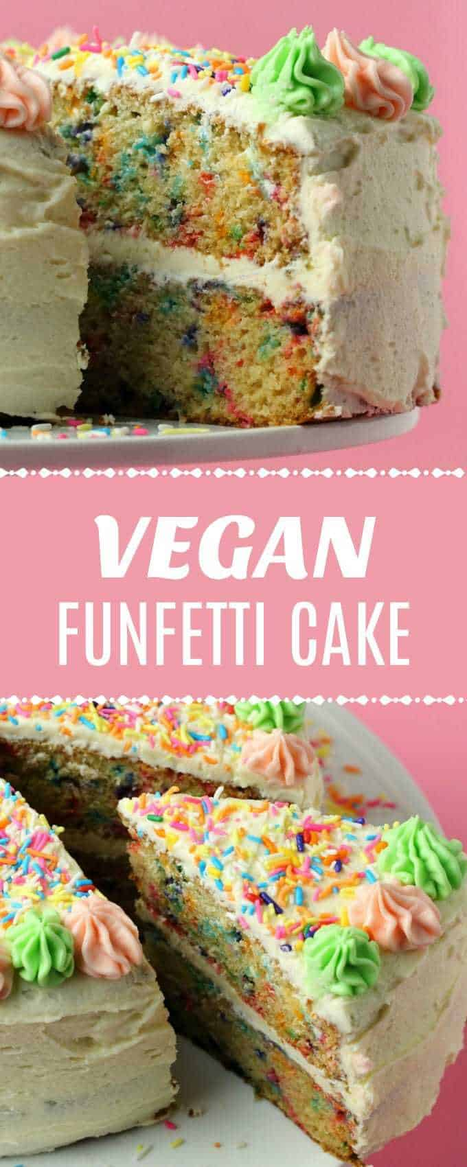 Colorful and festive vegan funfetti cake! This gorgeous, light and fluffy, moist and vanilla flavored cake with vanilla frosting is perfect for celebrations!| lovingitvegan.com