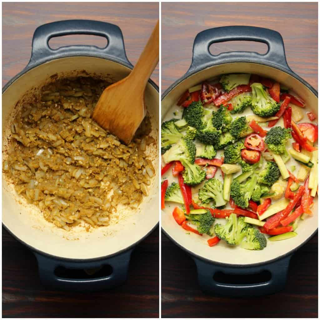 Photo collage of making a vegan green curry.