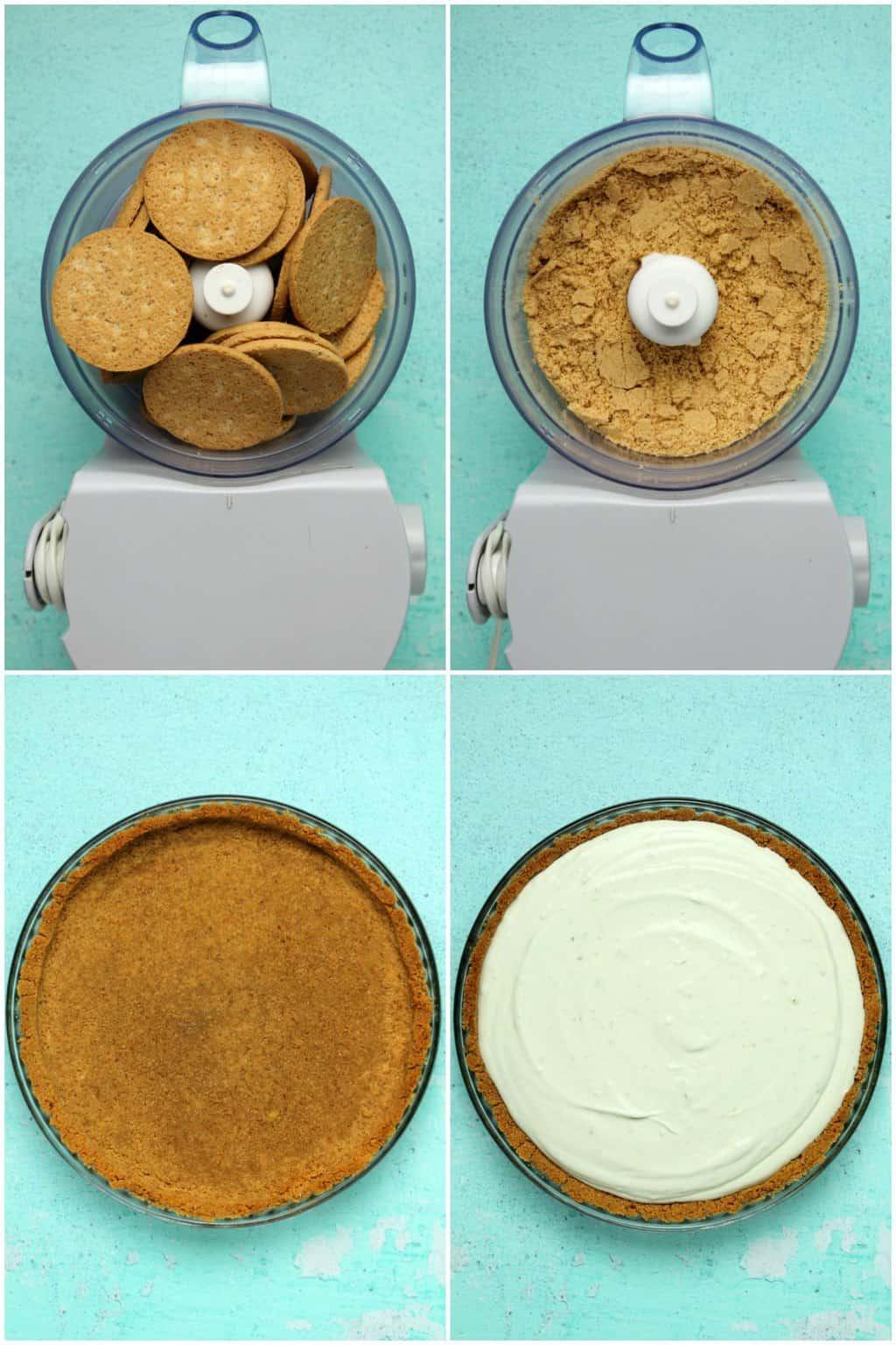 Process photos of making a vegan key lime pie.