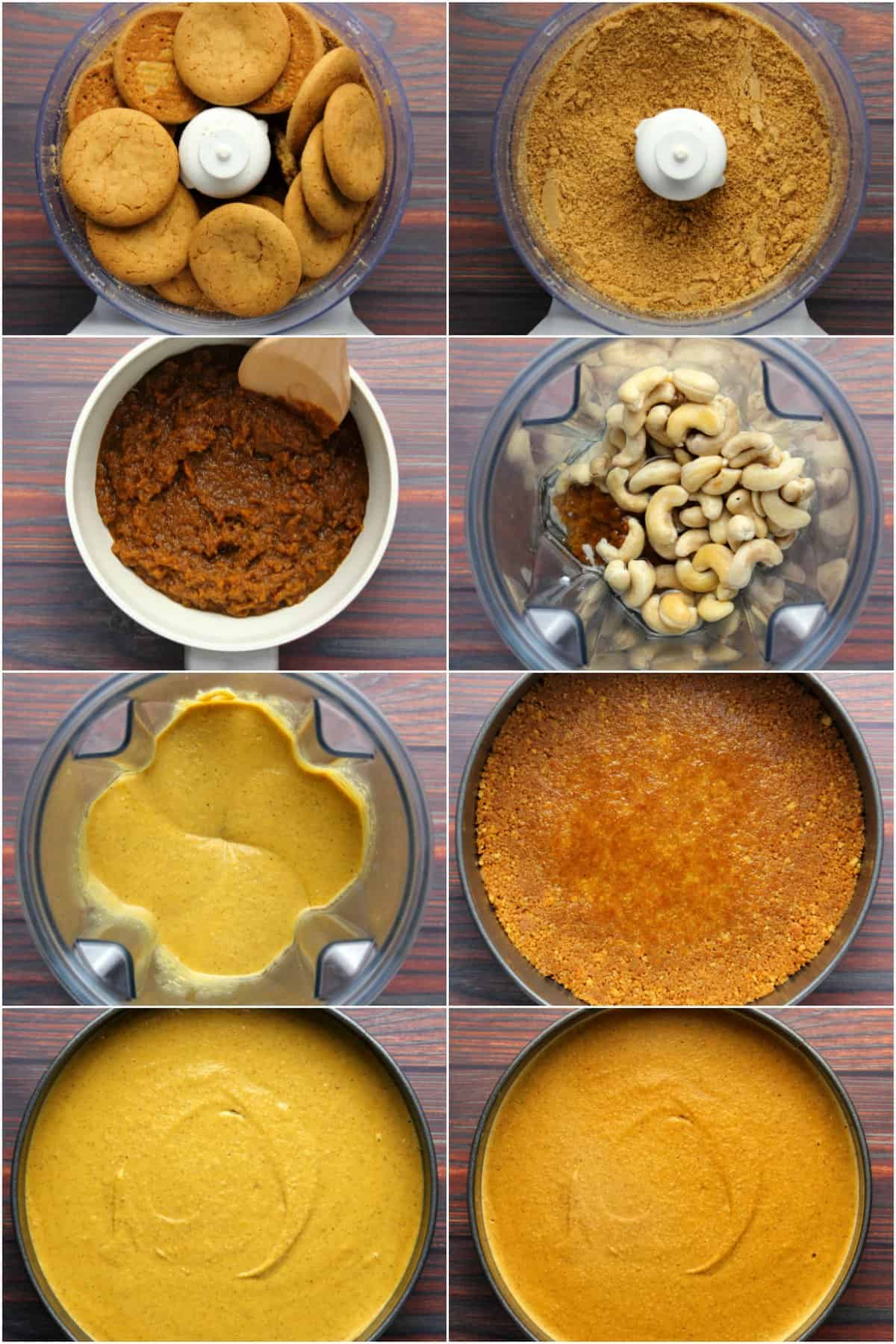 Step by step process photo collage of making vegan pumpkin cheesecake