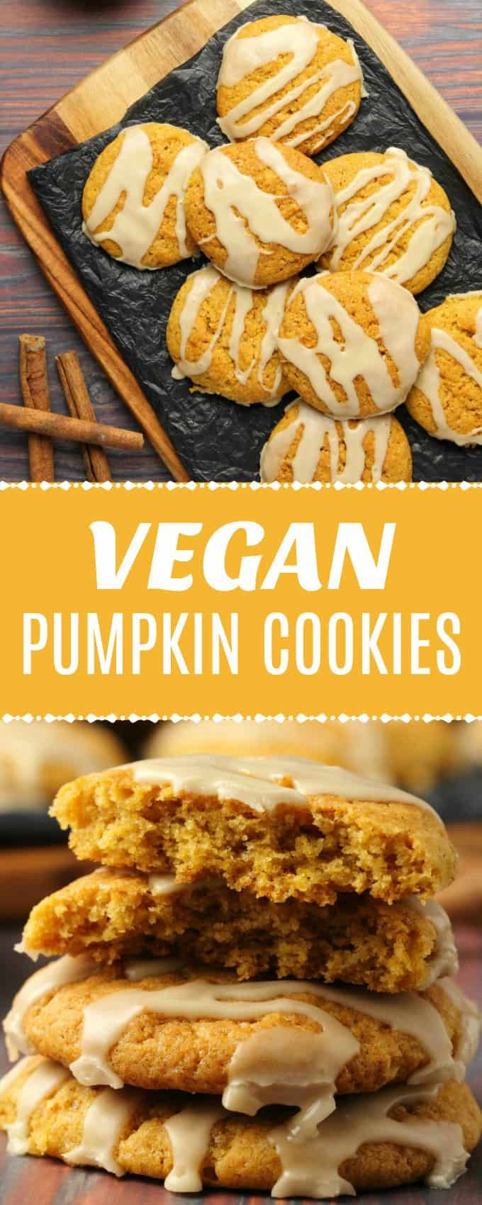 Beautifully soft vegan pumpkin cookies drizzled with a maple glaze. This simple recipe is perfectly spiced and perfect for fall!| lovingitvegan.com